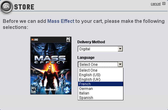 Langue francais EA Store
