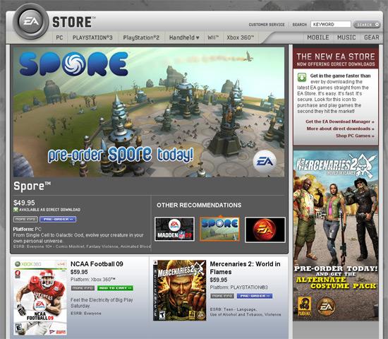 Le site américain de EA Store