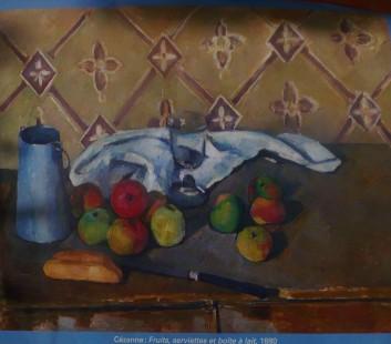 Cezanne : Fruits, serviettes et boîte à lait 1880